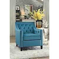 Blue Velvet Nailhead Button Tufted Accent Chair