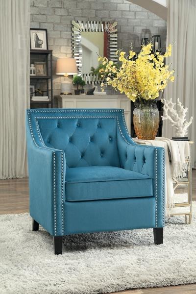 Blue Velvet Nailhead Button Tufted Accent Chair