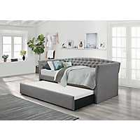 Jacintha Taupe Button Tufted Daybed with Trundle