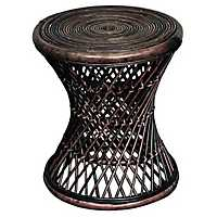 Kealy Round Brown Rattan Accent Table