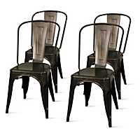 Black Metal Stackable Dining Chairs, Set of 4