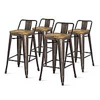 Gray Metal Wood Seat Counter Stools, Set of 4