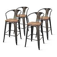 Gray Metal with Wood Seat Bar Stools, Set of 4