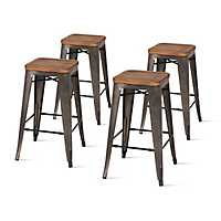 Wood and Metal Backless Counter Stools, Set of 4