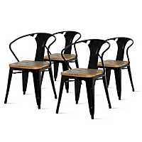 Black Metal Wood Seat Dining Arm Chairs, Set of 4