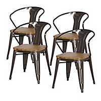 Gray Metal Wood Seat Dining Arm Chairs, Set of 5