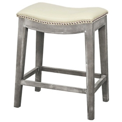 Ella Cream Bonded Leather Counter Stool