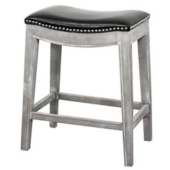 Ella Black Bonded Leather Counter Stool