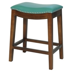 Ella Blue Bonded Leather Counter Stool