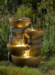 Flowing Pots Fountain with LED Light