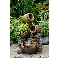 Multi-Pots Outdoor Fountain with Flower Pot