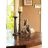 Rustic Tree Trunk Candle Holders, Set of 2