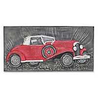 Vintage Metal Red Car Wall Plaque
