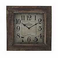 Wooden Aged Finish Square Wall Clock