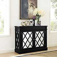 Reagan Distressed Black Mirrored Cabinet