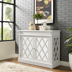 Reagan Distressed White Mirrored Cabinet