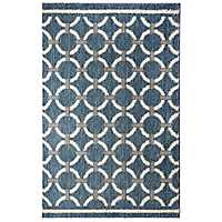 Blue Laguna Linked Circles Area Rug, 5x8
