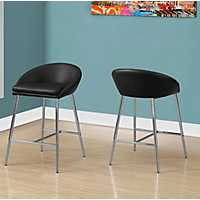 Black Counter Stools with Chrome Base, Set of 2