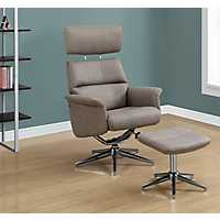Taupe Swivel Adjustable Recliner with Ottoman