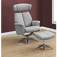 Gray Swivel Adjustable Recliner with Ottoman