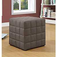 Kai Light Brown Square Quilt Ottoman
