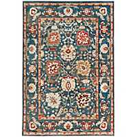 Blue Antique Floral Jordall Area Rug, 8x10