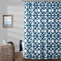 Navy Geometric Shibori Shower Curtain
