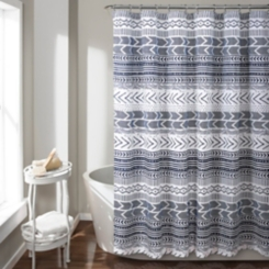 Navy and White Geometric Hygge Shower Curtain