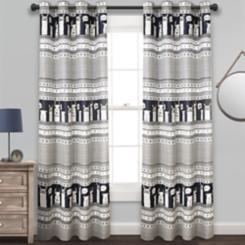 Navy Stripe Llama Curtain Panel Set, 84 in.