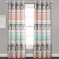Pink Stripe Llama Curtain Panel Set, 84 in.