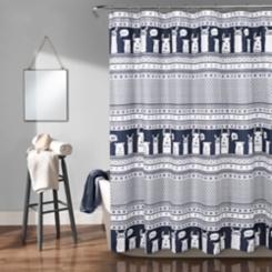 Navy Stripe Llama Shower Curtain