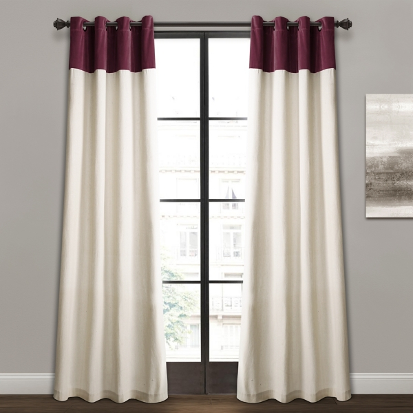 Plum and Ivory Millie Curtain Panel Set