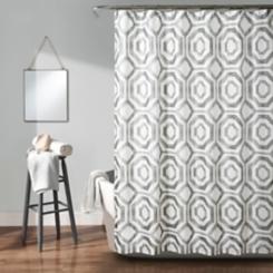 Gray Octagon Blocks Shower Curtain