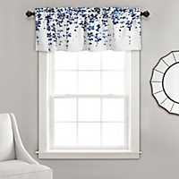 Navy Weeping Flower Curtain Valence