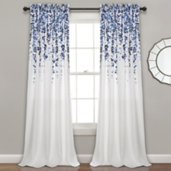 Navy Weeping Flower Curtain Panel Set, 84 in.