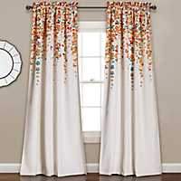 Tangerine Weeping Flower Curtain Panel Set, 95 in.