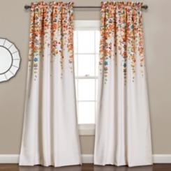 Tangerine Weeping Flower Curtain Panel Set, 95 in.