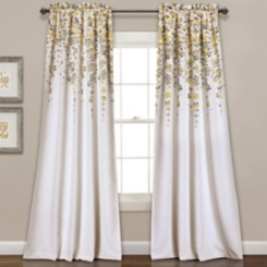 Yellow Weeping Flower Curtain Panel Set, 95 in.