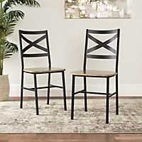 Metal X-Back Driftwood Dining Chairs, Set of 2