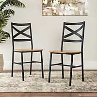 Metal X-Back Barnwood Dining Chairs, Set of 2