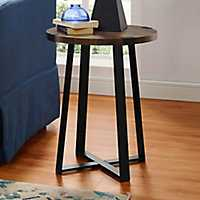 Walnut Urban Rustic Round Accent Table