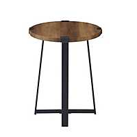 Oak Urban Rustic Round Accent Table