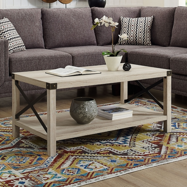 White Industrial X Frame Coffee Table