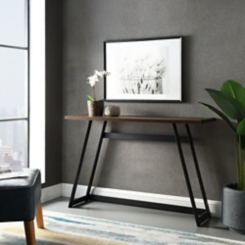 Urban Metal Wrap Dark Walnut Console Table