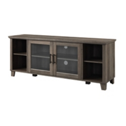 Rustic Gray Media Cabinet with Middle Doors