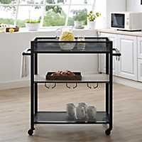Industrial Metal and Gray Wood Rolling Bar Cart
