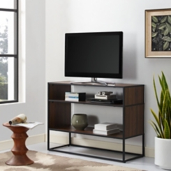 Open Shelf Dark Walnut Metal Frame Console Table