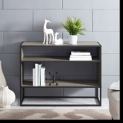 Open Shelf Gray Wood Metal Frame Console Table