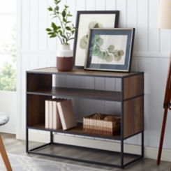 Open Shelf Oak Wood Metal Frame Console Table