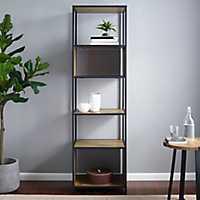 Industrial 5-Tier Metal Oak Wood Bookshelf